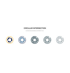 Circular intersection icon in different style vector