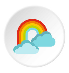 clouds and rainbow icon flat style vector image