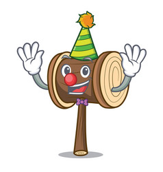 Clown mallet mascot cartoon style vector
