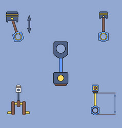 Collection of icons and car piston concept vector