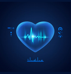 concept cadiology technology transparent heart vector image