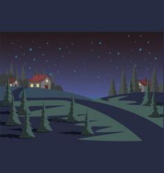 Countryside at night flat vector