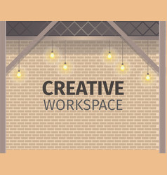 Creative coworking workspace brick wall banner vector