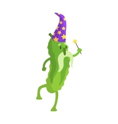 Cucumber In Wizard Costume With Magic Wand Part vector
