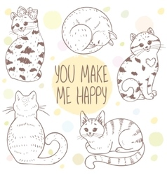 Cute cats set vector