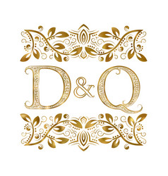 D and q vintage initials logo symbol the letters vector