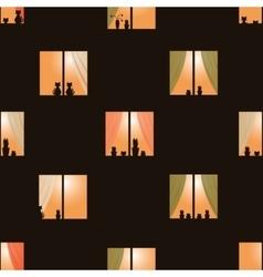 Dark brown night town windows seamless pattern vector
