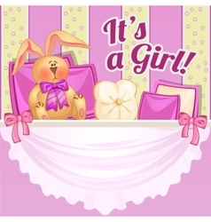 Decor girl room in pink color with soft rabbit vector image