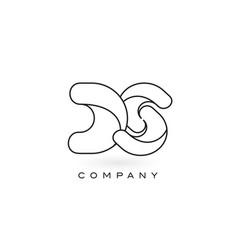 Ds monogram letter logo with thin black monogram vector