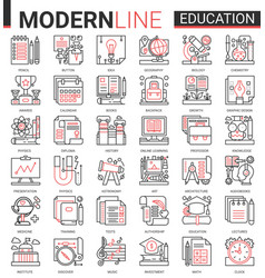 education complex concept thin red black line icon vector image