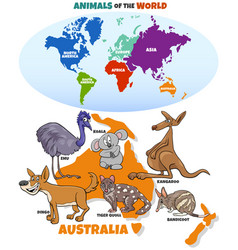 educational with cartoon australian animals and vector image