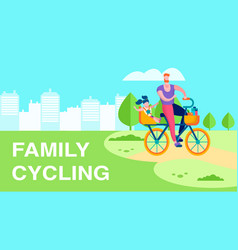 family cycling outdoor recreation flat text banner vector image