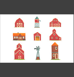 farm buildings and constructions set countryside vector image