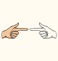 female hand pointing vector image