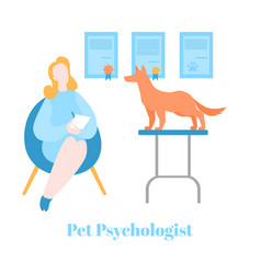 Flat pet psychologist dog having therapy vector