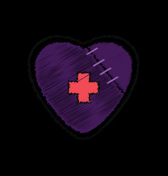 Flat shading style icon sewn heart with a cross vector