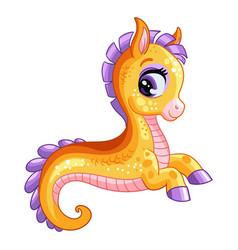 funny cute happy fantasy seahorse isolated vector image