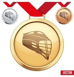 Gold Medal with the symbol of a lacrosse inside vector image