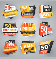 Half price sale tags special weekend offer vector