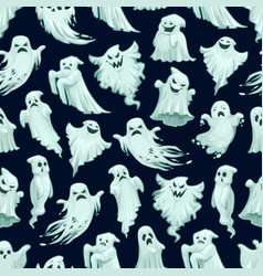 halloween ghost pattern holiday card design vector image