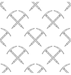 Hand drawn crossed ice axes seamless pattern vector