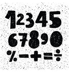 hand drawn number set black ink brush lettering vector image