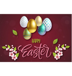 happy easter lettering background with 3d vector image