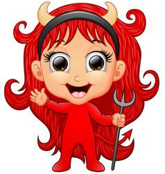 happy girl evil cartoon waving hand vector image