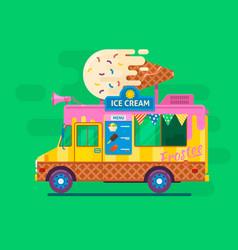 ice cream van deliverystreet food truck vector image