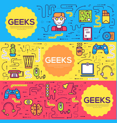 It geeks brochure cards thin line set vector