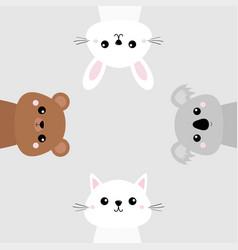 Koala bear grizzly rabbit hare cat kitten head vector