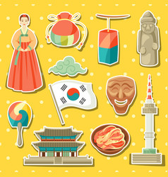 korea icons set korean traditional sticker vector image