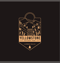 Lower falls yellowstone national park patch vector