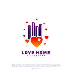 modern city love logo design concept business vector image