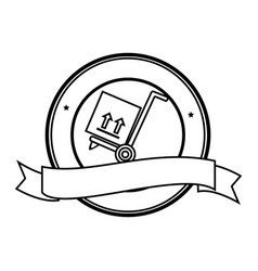 Monochrome circular contour emblem with ribbon and vector