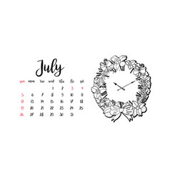 Monthly desk calendar template for month july vector