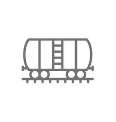 Oil tank on rails cargo wagon line icon vector
