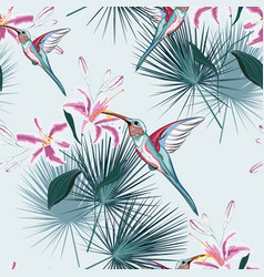 pattern background with humming bird vector image