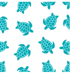 pattern with turquoise turtles vector image