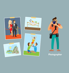 Photographer with digital camera taking photo vector
