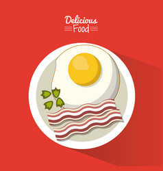 poster delicious food in red background with dish vector image