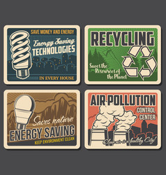 Recycling pollution environment posters ecology vector