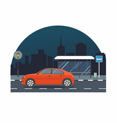 red car drive on road on background of night city vector image