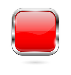 Red glass button 3d shiny square icon vector