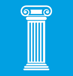 Roman column icon white vector