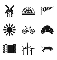 Rural locality icons set simple style vector
