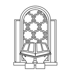 Sacred book with temple window religious icon vector