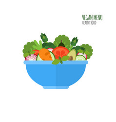 salad ingredients in flat style vegan menu salad vector image