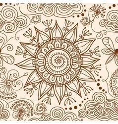 Seamless Henna mehndi doodle pattern vector