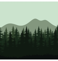 Seamless mountain landscape forest silhouettes vector image